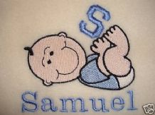 PERSONALISED LETTER BABY BLANKET. CHOICE OF 6 COLOURS